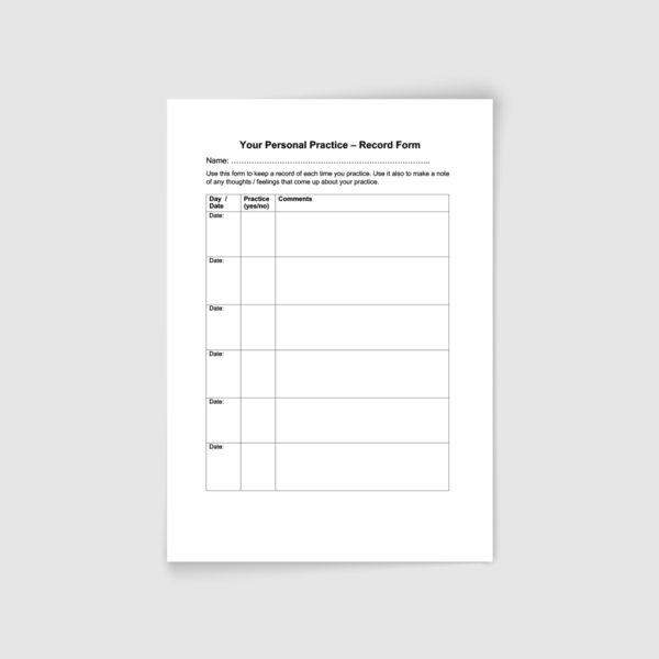 Mindfulness Teacher Register   Practice Record Form